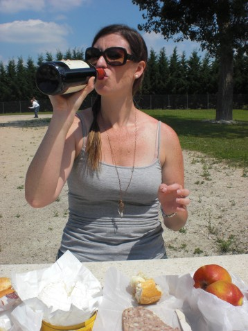 French picnic with wine