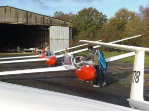 Gliders at the Lasham Gliding Society
