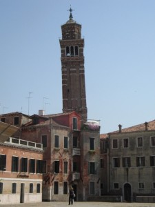 The mocking, leaning tower in Venice Italy