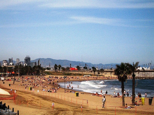 Busy Barcelona beaches