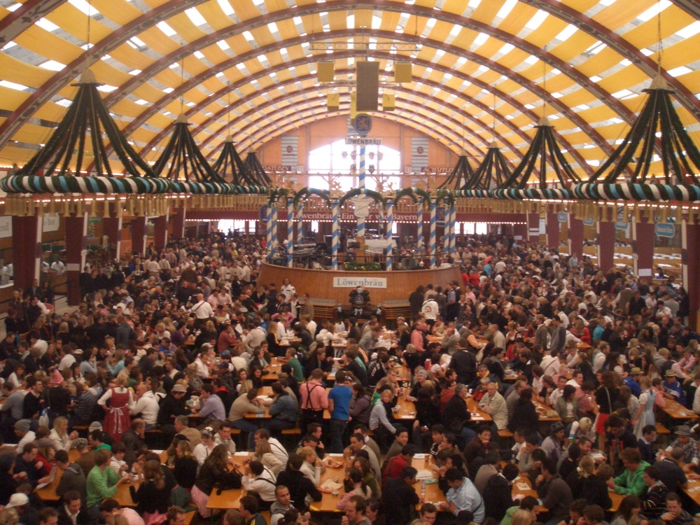 Inside the Lowenbrau Oktoberfest beer tent