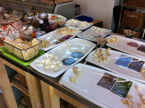Sampling cheese at Fifth Town