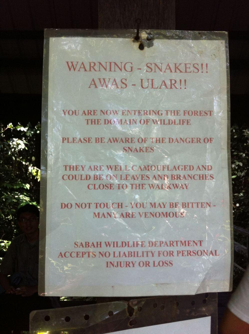 Warning at Sepilok Orangutan Sanctuary, Borneo