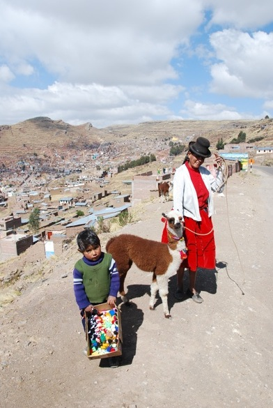 Mother and son in Puno, Peru