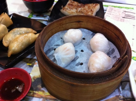 Steamed shrimp dumplings, dim sum, Hong Kong