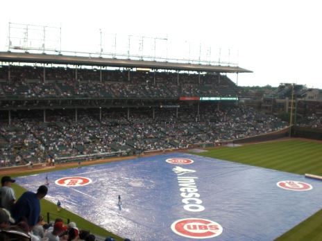 Cubs game at Wrigley Field rain delay